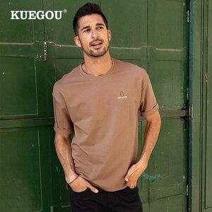 KUEGOU Loose Tee  Man's T-shirt Short Sleeve Hip Hop Avocado Embroidery Tshirt Fashion Summer  For men Plus Size Top SDT-73107