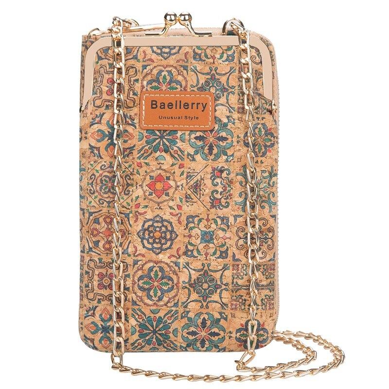 Baellerry cartera larga de corcho para mujer, bolso de teléfono móvil a la moda de gran capacidad, bandolera de hombro