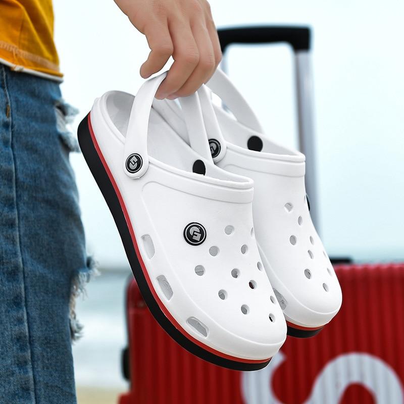 2020 New Fashion Sandals Men Clogs Slippers Soft Bottom Beach Sandals Men Clog Sandals Comfortable Breathable Ankle-Wrap EVA