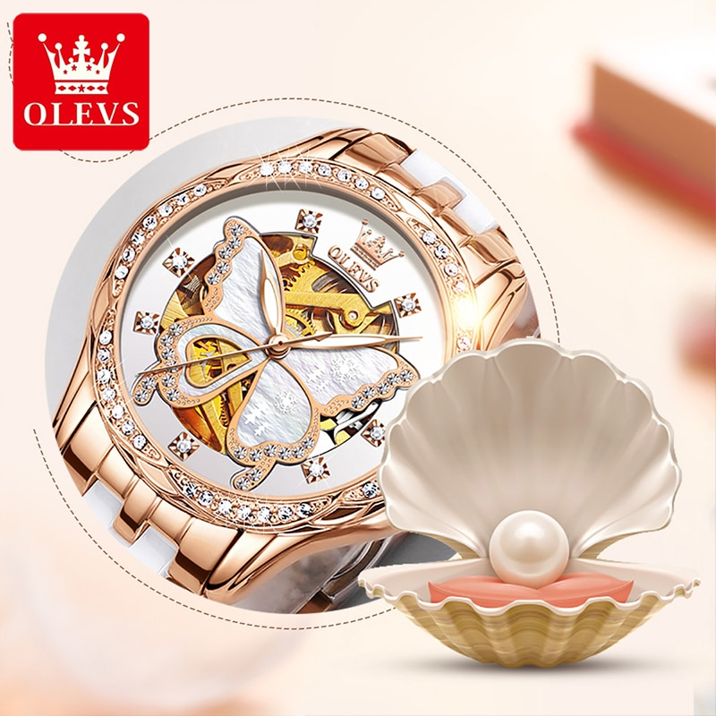 OLEVS New Fashion Casual Ladies Automatic Mechanical Ceramic Steel Belt Watch Diamond Butterfly Dial Waterproof Watches 6622 enlarge