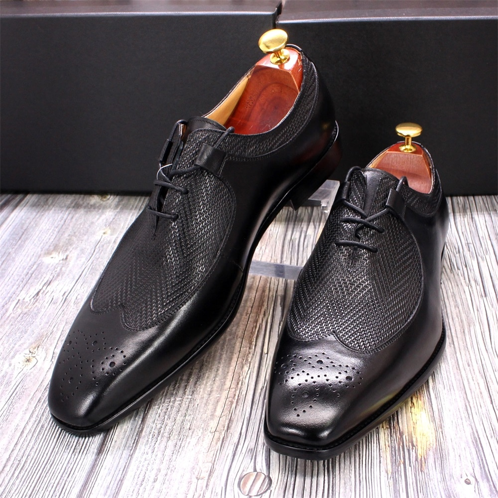 أكسفورد-أحذية جلدية أصلية فاخرة للرجال ، أحذية عمل ، مصنوعة يدويًا ، فاخرة ، مقاس 6 إلى 13