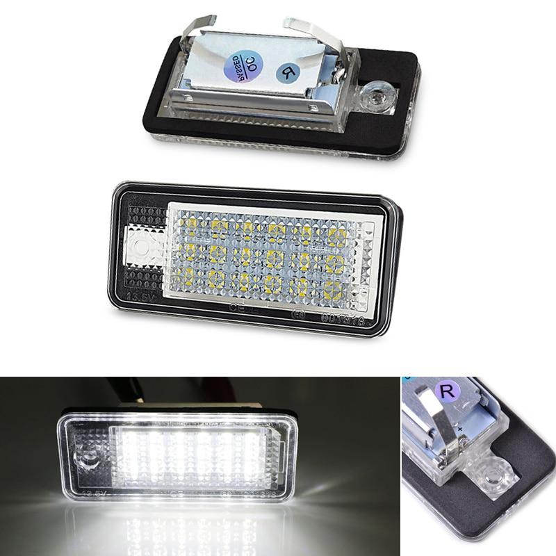2Pcs Carro Número LED License Plate Luz Led Branco Lâmpadas Erro Free For Audi A3 S3 A4 B6 B7 S4 A5 A6 S6 C6 A8 D3 Q7 RS4 RS6 Avant
