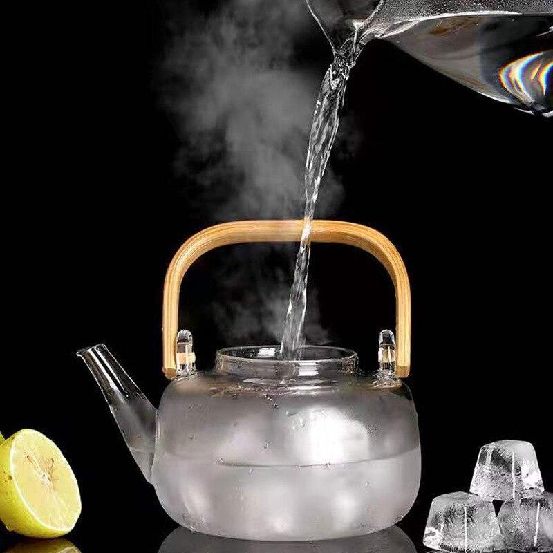 إبريق شاي زجاجي مقاوم للحرارة مع مصفاة من الفولاذ المقاوم للصدأ ، وعاء ساخن ، غلاية شفافة ، سلال فلتر مربعة