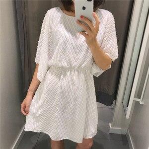 Fashion Women Summer Dress 3/4 Sleeves Round Neck Casual Dress Girls Sweet Cute A Line Vestido Mini Dresses