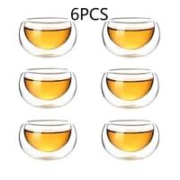 high borosilicate heat resisting glass small double wall tea cup originality transparent double wall kungfu teacup 50ml capacity