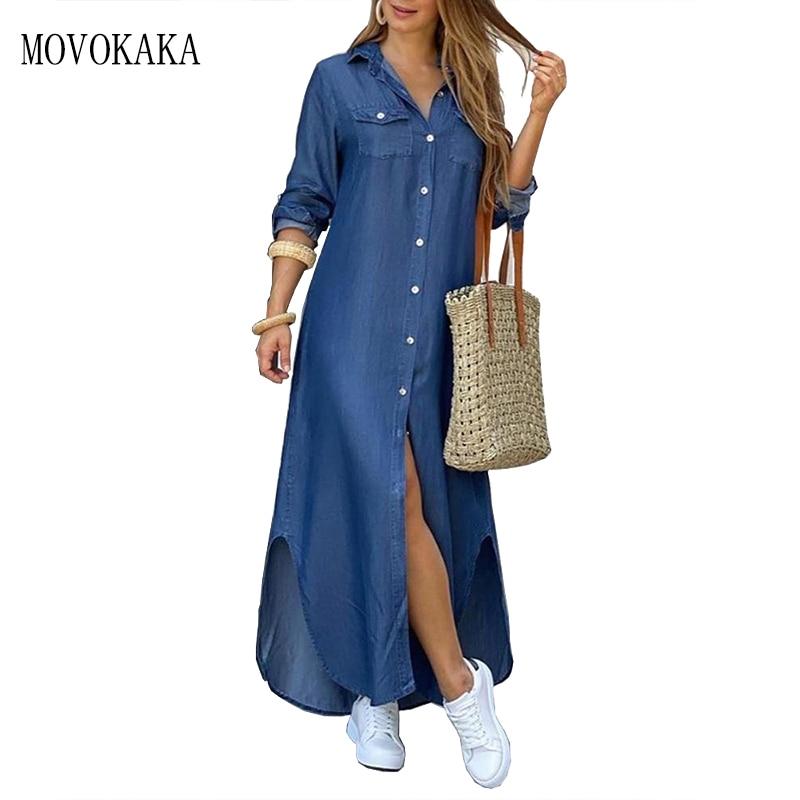 MOVOKAKA Denim Blue Solid Dress Women 2021 Elegant Casual Plus Size Robe Long Sleeve Dresses Woman L
