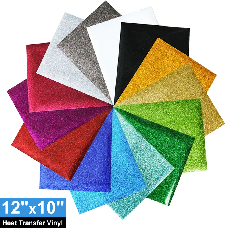 Transferência térmica brilho vinil 12 × 10 polegada 1 folha transferência vinil ferro para roupas htv camisa alta decoração elástica filme fácil de cortar