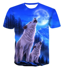 The new Blood Wolf men's and women's round neck T-shirts, 2021 fashion loose short sleeve 3D printed pullover