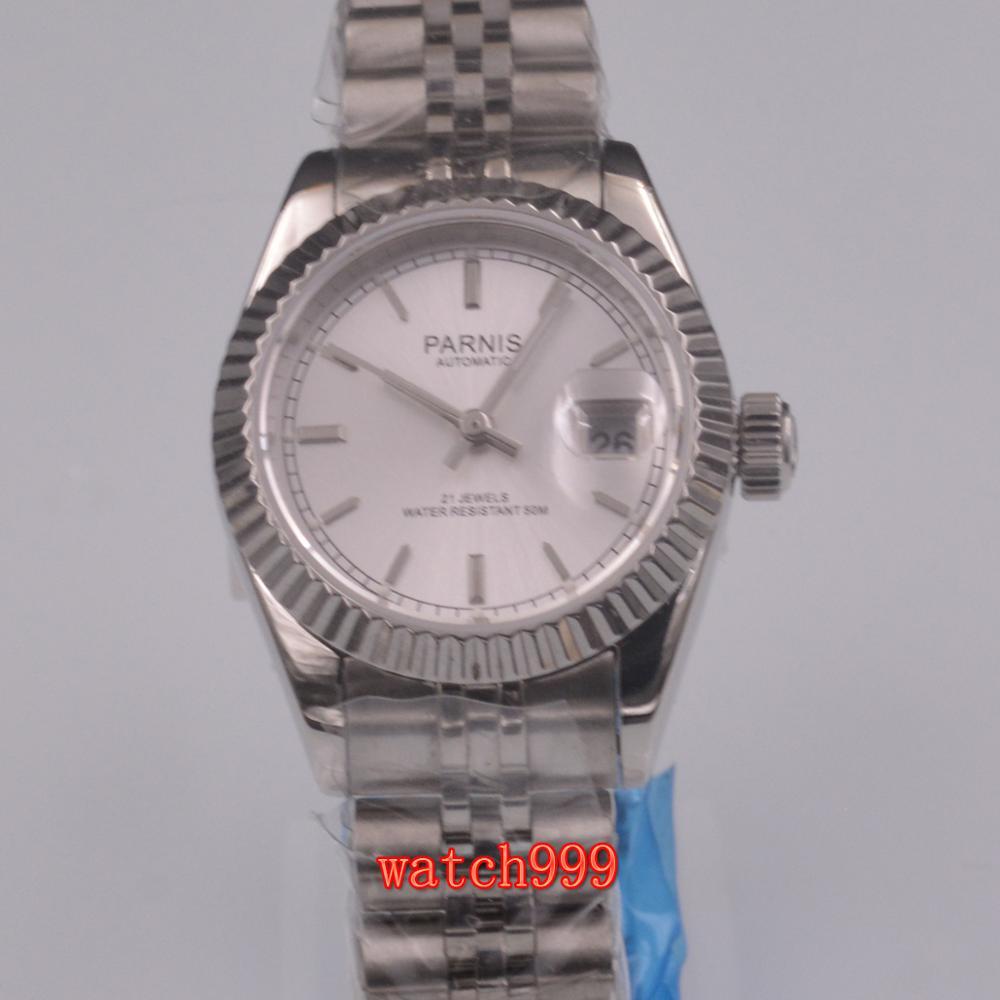Parnis 36mm dial blanco zafiro luminoso fecha Miyota 8215 señoras reloj automático correa de acero resistente al agua reloj mecánico