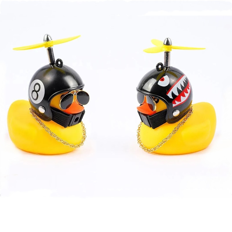 AliExpress - Car Ornaments rubber Duck with Helmet Broken Wind Small Yellow Duck Road Bike Motor Helmet Riding Cycling Accessories