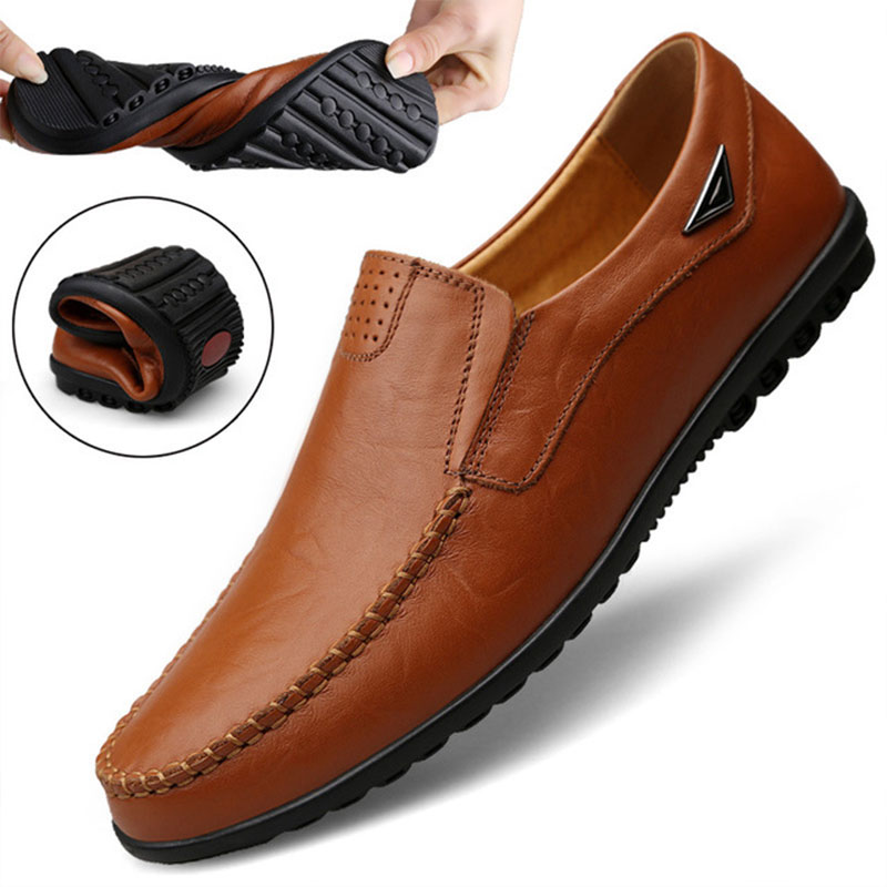2020 New Genuine Leather Men Casual Shoes Luxury Brand Mens Loafers Moccasins Breathable Slip on Black Driving Shoes Big Size 47