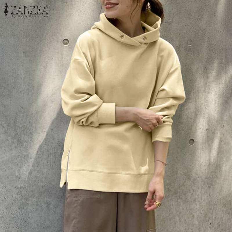 ZANZEA 2021 стильные весенние толстовки с капюшоном женские свитшоты с Боковым Разрезом пуловеры с длинным рукавом Женские повседневные однотонные Топы