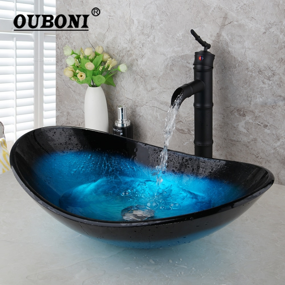 OUBONI-صنبور حوض الحمام ، مجموعة صنبور بيضاوية من الخيزران الأسود مع صنبور خلاط يدوي ، تأثير شلال