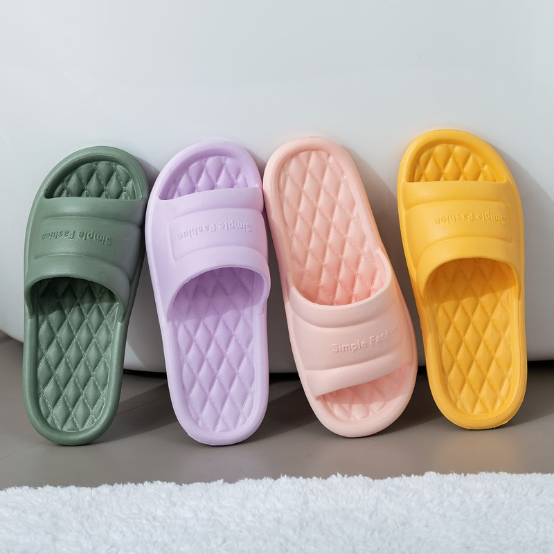 Men Summer Home Slippers Simple Black Navy Shoes Non-Slip Bathroom Slides Flip Flops Couples Indoor