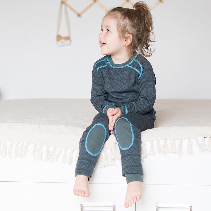 طقم ملابس داخلية رياضية حرارية للأطفال من صوف ميرينو ، قميص جاكار ، بنطلون ، جوارب طويلة للأولاد والبنات