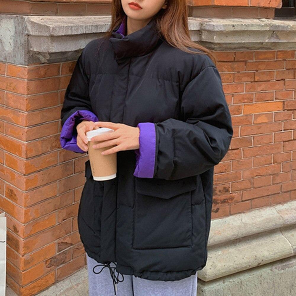 القوطية القطن وسادة مبطنة النساء 2020 موضة الشتاء سميكة بسيطة طالب الخبز سترات سترات سوداء الكورية فضفاض الشباب