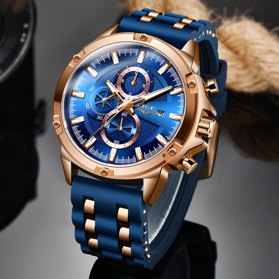 Reloj deportivo Casual LIGE para hombre, parte de arriba de color azul, marca de lujo, reloj de pulsera militar de silicona, reloj de hombre, cronógrafo a la moda, reloj Masculino