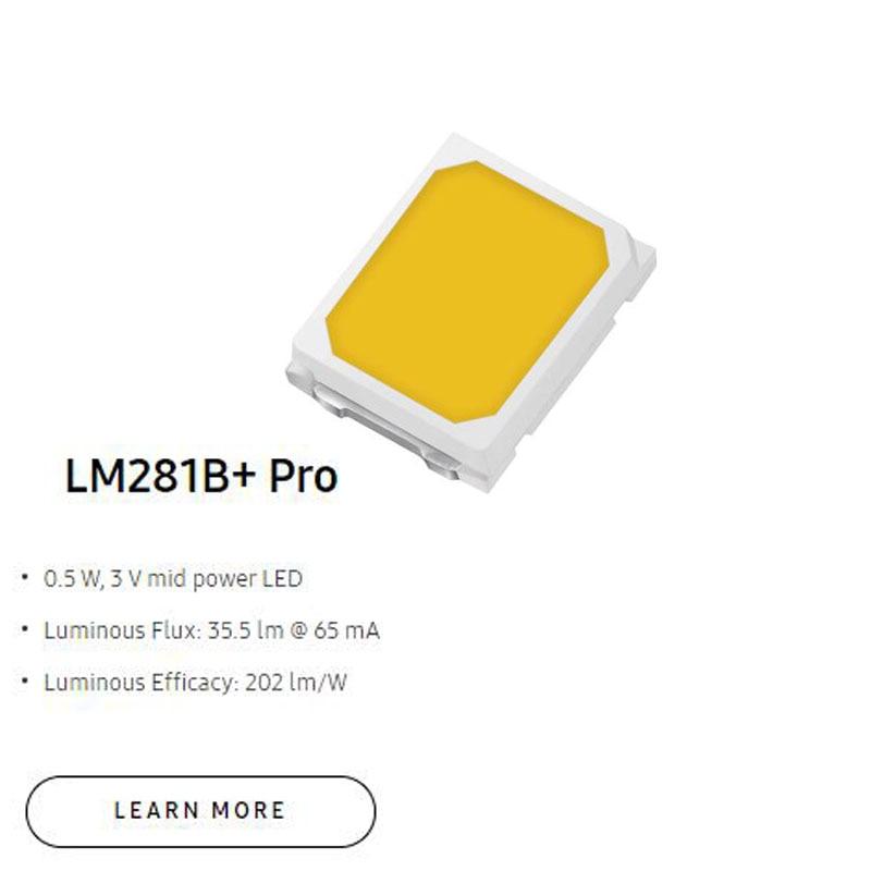 New Higher Luminous Efficacy 223lm/W  2835 SMD LED  LM281B+ Pro 0.5 W, 3 V mid power LED 4000K For LED Lighting недорого