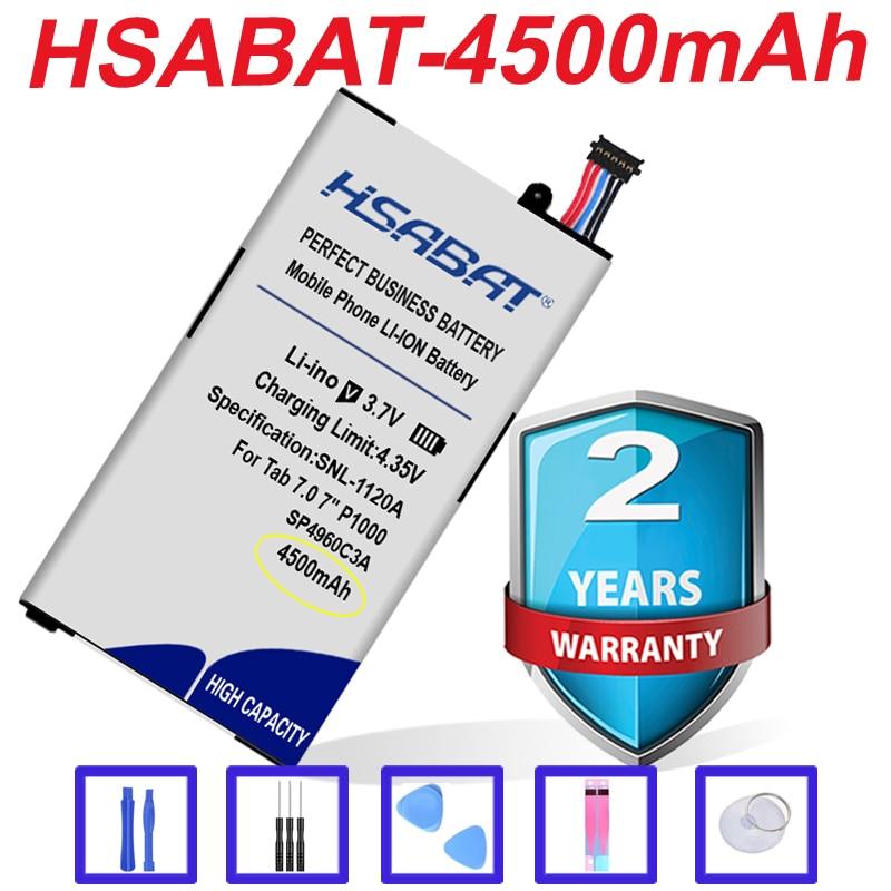 "HSABAT топовый бренд 100% Новинка 4500 мАч SP4960C3A Аккумулятор для планшета Samsung Galaxy Tab 7,0 7 ""P1000 P1010 GT-P1000 GT P1010"