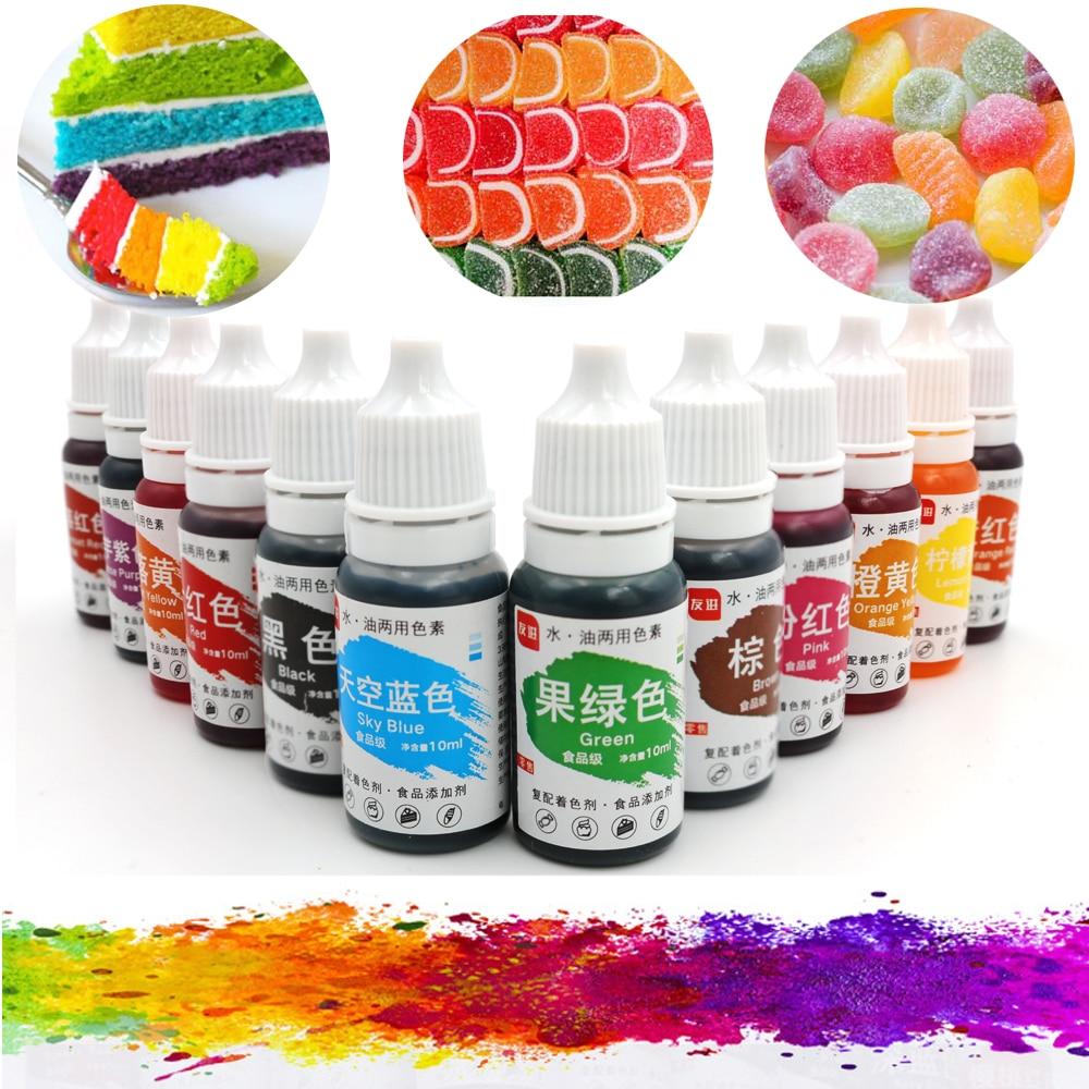 Набор Пищевых красок для торта, 12 цветов, 10 мл, натуральные чернила для украшения торта, красочный пигмент для торта