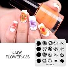 KADS fleur 036 Overprint Bloom modèles bricolage Image manucure outils ongle pochoir timbre Nail Art estampage plaque