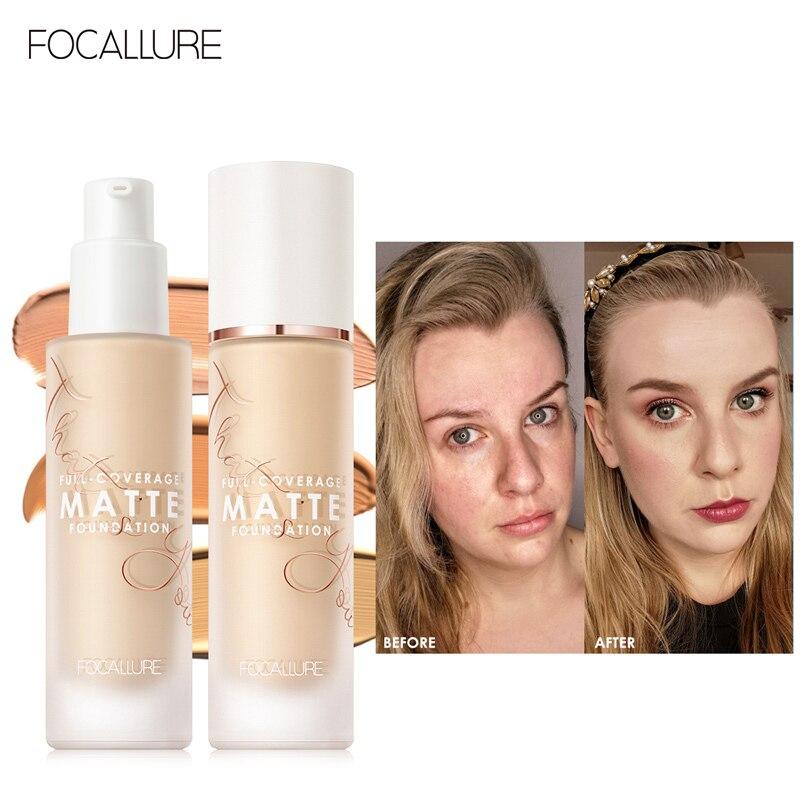 Crema de Base líquida FOCALLURE Covermax para rostro, corrector mate de larga duración de 20 colores, Base de maquillaje impermeable
