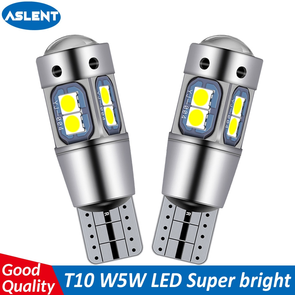 ASLENT 2pcs Car T10 Led Canbus 6000K White T10 w5w Led Bulb DRL Turn Parking Width Interior Dome Light Reading Lamp Car Styling xigyte t10 led car w5w light bulb t10 12v car accessories interior light 6000k white clearance light for car styling motorcycle
