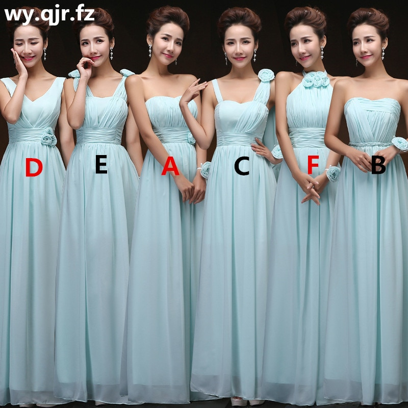 QNZL70Z#V-neck Lace Up Chiffon Purple Champagne pink blue Bridesmaid Dresses Long wholesale Custom w