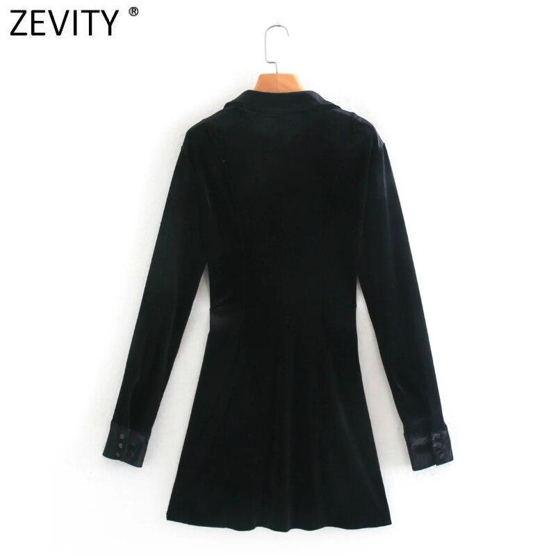 Zevity New Women Elegant Turn Down Collar Long Sleeve Velvet Party Mini Dress Female Casual Slim Business A Line Vestido DS4657
