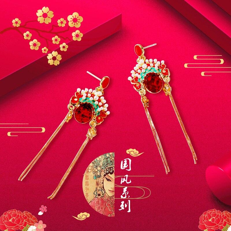 Pendientes de máscara de ópera de Beijing estilo étnico chino rojo Retro cristal máscara pendientes largos bisutería mujer regalo de moda
