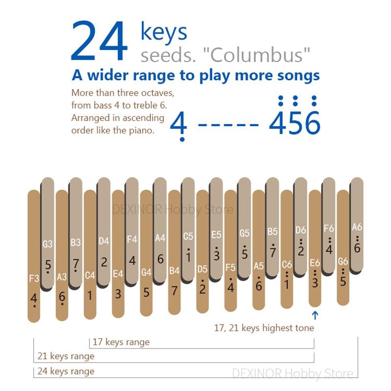 Seeds Kalimba 24 Keys 2layer Thumb Piano Keyboard Mbira Columbus With 2pcs Case Musical Instruments Music box Accessories enlarge
