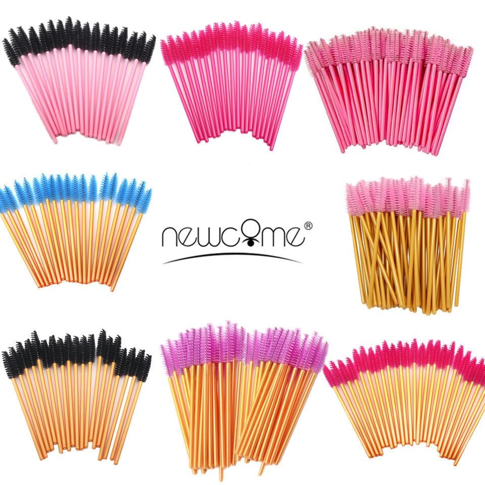NEWCOME 50 pçs/lote Extensões de Cílios Descartável Escova Cílios Escova Aplicadores Mascara Escova de Cílios Falsos Indivíduo