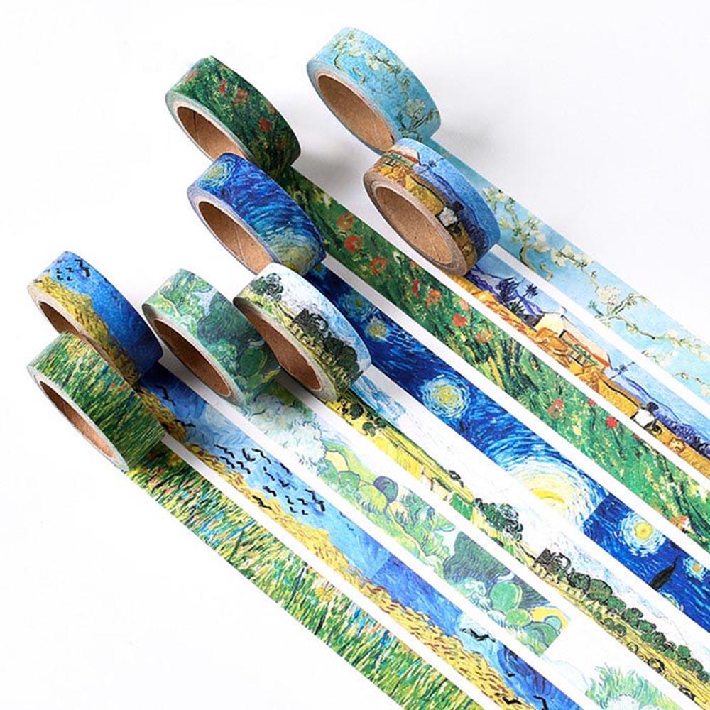 1 pièces Van Goghs peintures thème papier Washi ruban rubans de masquage autocollants décoratifs bricolage papeterie fournitures scolaires