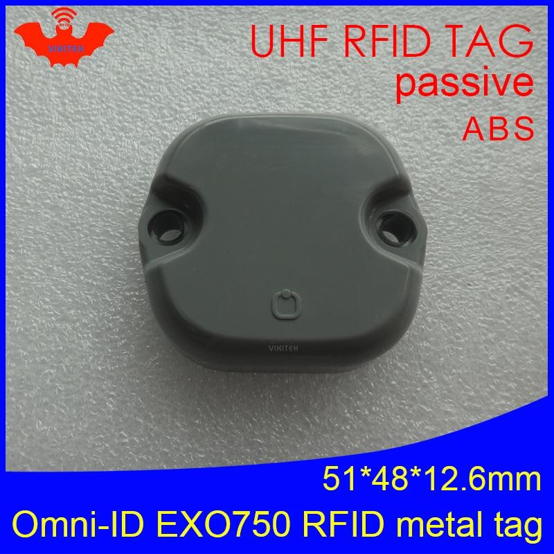 Etiqueta UHF RFID anti-metal omni-id EXO 750 EXO750 915mhz 868mhz Impinj Monza4QT EPCC1G2 6C etiquetas pasivas RFID ABS duraderas