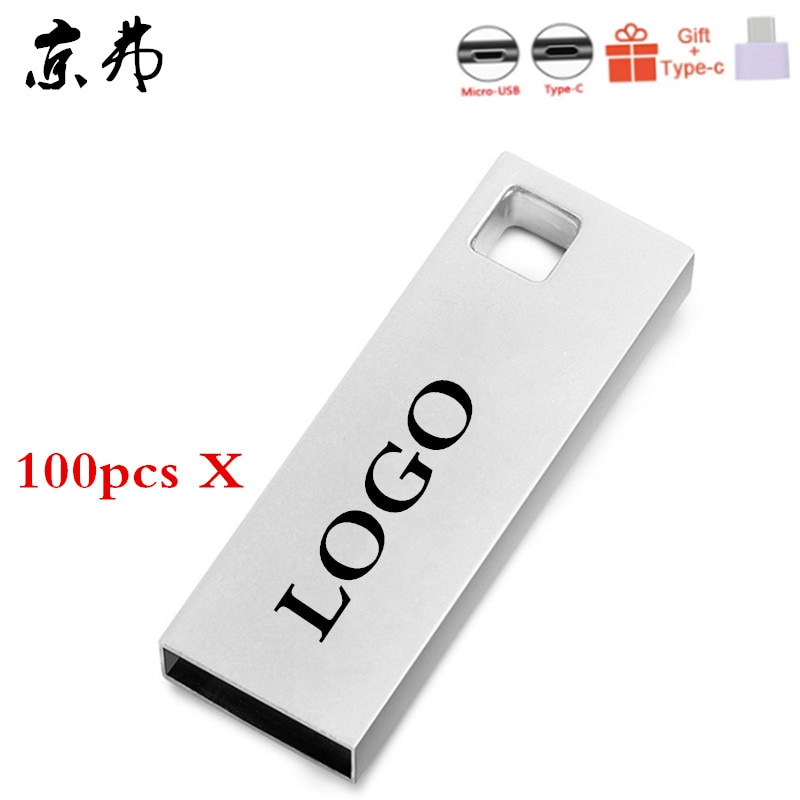 100pcs/Lot Metal USB Flash Drives USB 2.0 Flash Pen Drive Memoria Stick 4GB 8GB 16GB 32GB Custom LOGO U Disk Pendrive For Gift