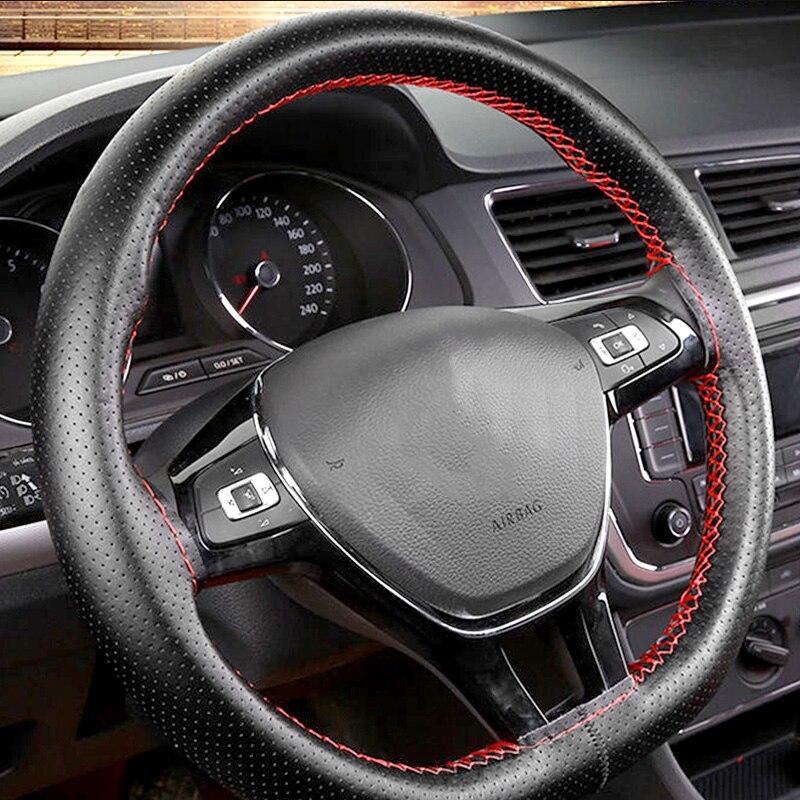 Cuero de la PU de 36cm 38cm 40cm Universal protector para volante de coche para Ford Lada VW Chevrolet Kia Volvo Nissan Peugeot Accesorios