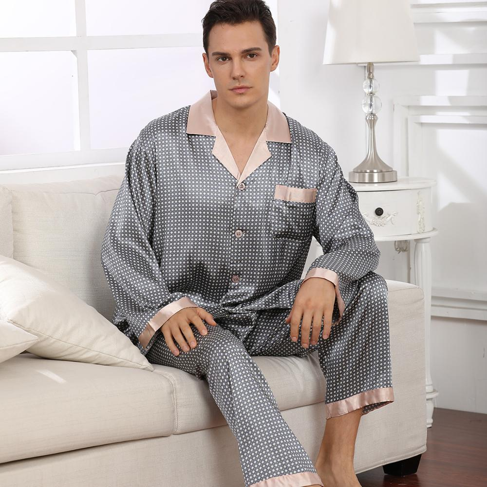 New Men% 27s Stain Silk Pajama Set Man Sleepwear Pyjamas For Men Suit Nightgown Sleeping Lounge Home Clothing Soft Cozy Pyjamas Male
