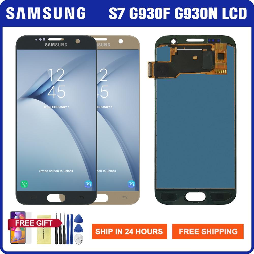 شاشة Lcd تم اختبارها 100% لسامسونج جالاكسي S7 G930 G930F G9300 شاشة LCD تعمل باللمس محول الأرقام جزء لسامسونج غالاكسي S7