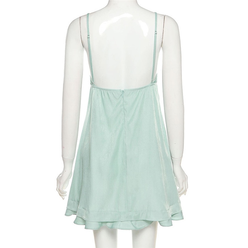 OOTD 90s Fashion Drawstring Lace-up Ruffles Short Dresses Y2K Streetwear Backless Strapled Milk Maid Dress Green A-line 2021