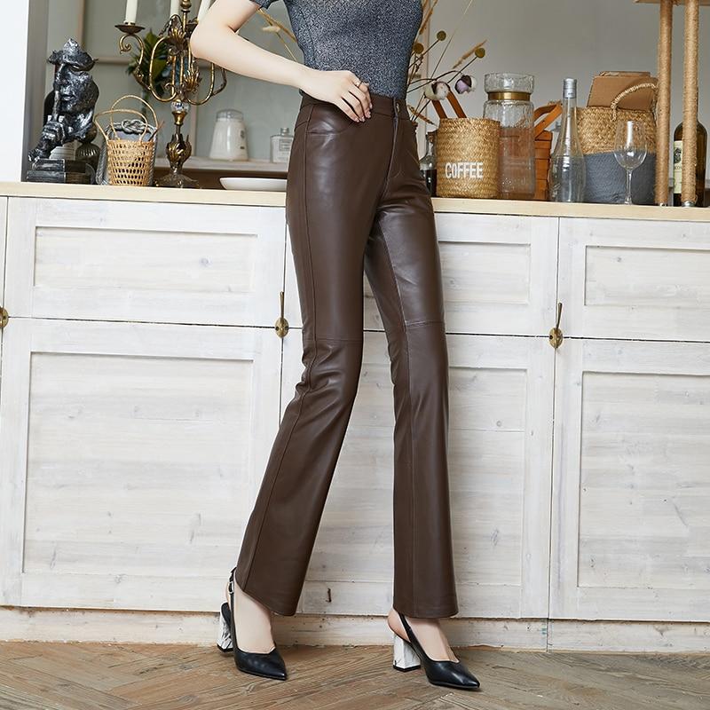 Genuine Leather Pants 2021 Women Pants High Waist Slightly Flared Pants Black Red Plus Size Vintage Loose Sheepskin Pants