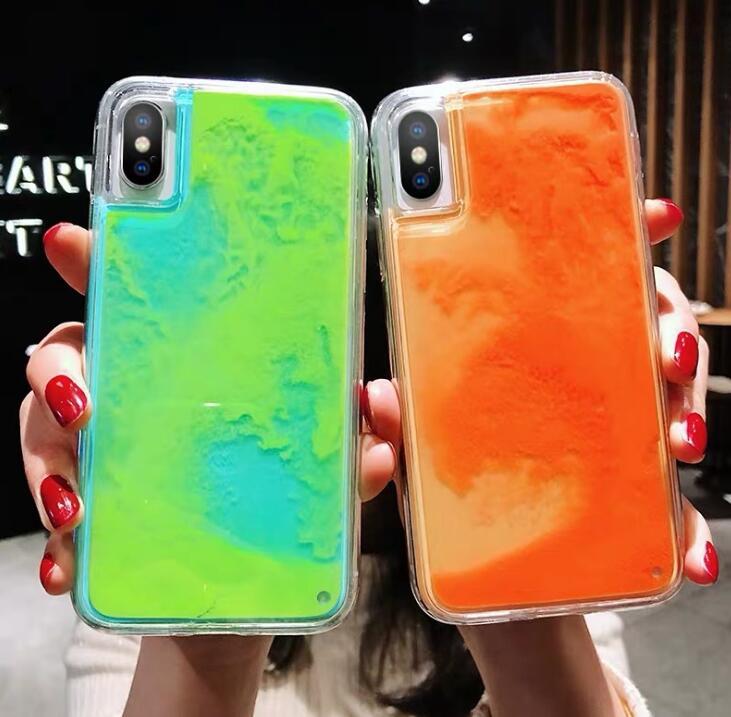 Luminoso neón arenas movedizas teléfono móvil carcasa para iPhone 6 6S 7 8 Plus X XS 11 Pro MAX XR resplandor en la oscuridad funda de brillo líquido