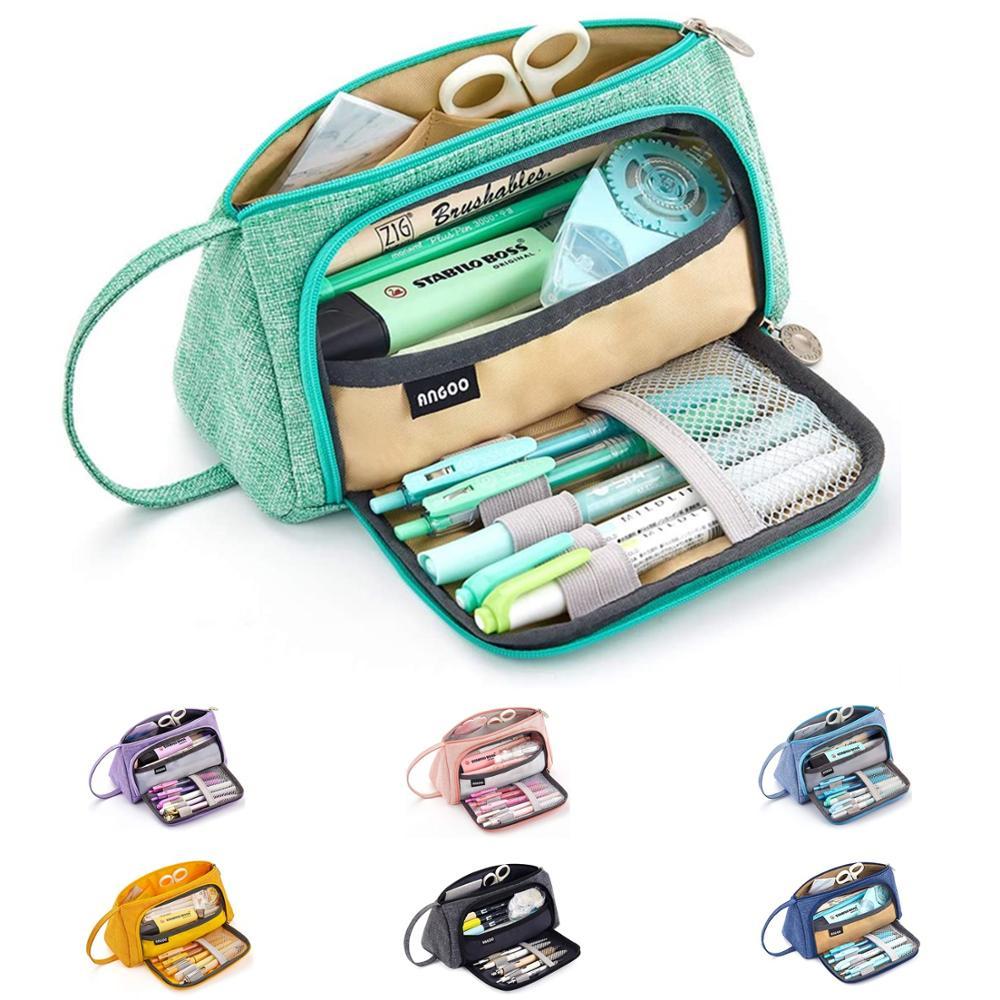 Angoo [чистый] Цветной чехол для карандашей, сумка для ручек с несколькими слотами, большой органайзер для хранения канцелярских принадлежностей, косметический дорожный кошелек A6443