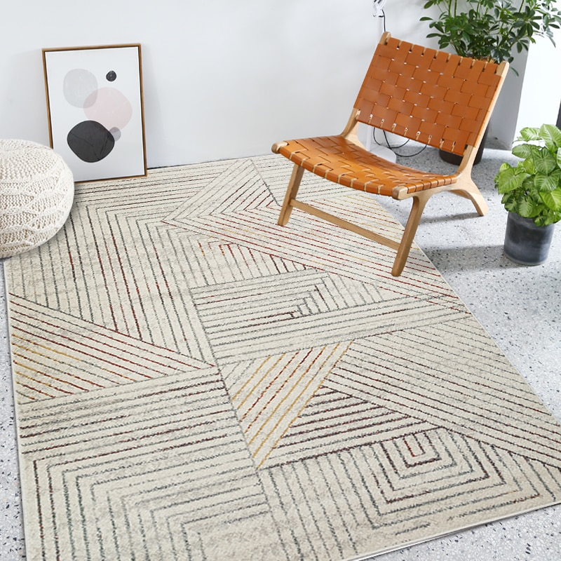 Alfombra de estilo nórdico con diseño geométrico para sala de estar, alfombra de área, alfombra grande con decoración popular para el hogar