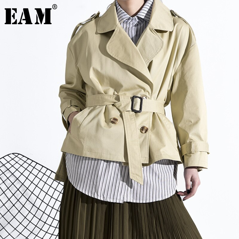 [EAM] Loose Fit Khaki Striped Split Big Size False Two Jacket New Lapel Long Sleeve Women Coat Fashion Tide Spring 2020 JS24804