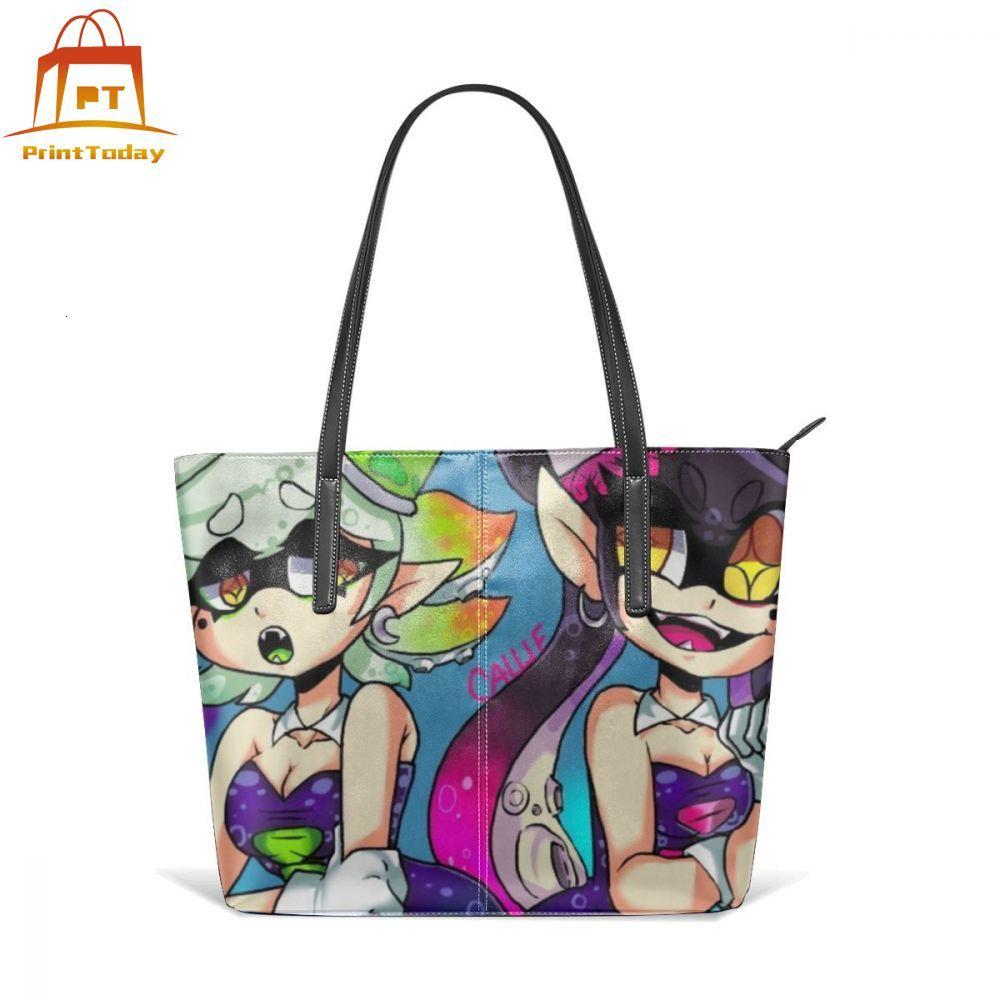 Bolso de mano con figura de Splatoon Callie y Marie, bolsos con asa superior, bolso de mano de cuero de gran tamaño, bolsos de mano para mujeres adolescentes