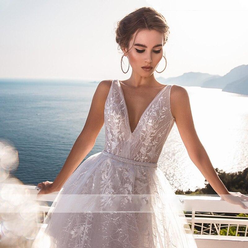 BAZIIINGAAA +Роскошь Свадьба Платье V-образный вырез Открытка Плечо Свадьба Платье Сексуальная Спинка 3D Наклейка Невеста Поддержка Индивидуальный заказ