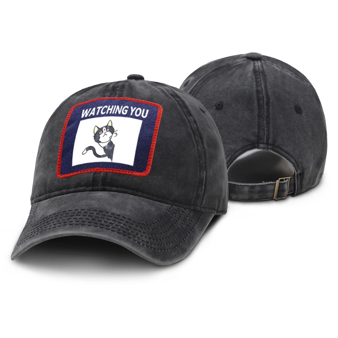 Lindo gato te está viendo imprimir gorra de hombre Hip Hop ajustable papá sombrero mujer algodón poliéster Snapback gorras hombre negro moda sombreros