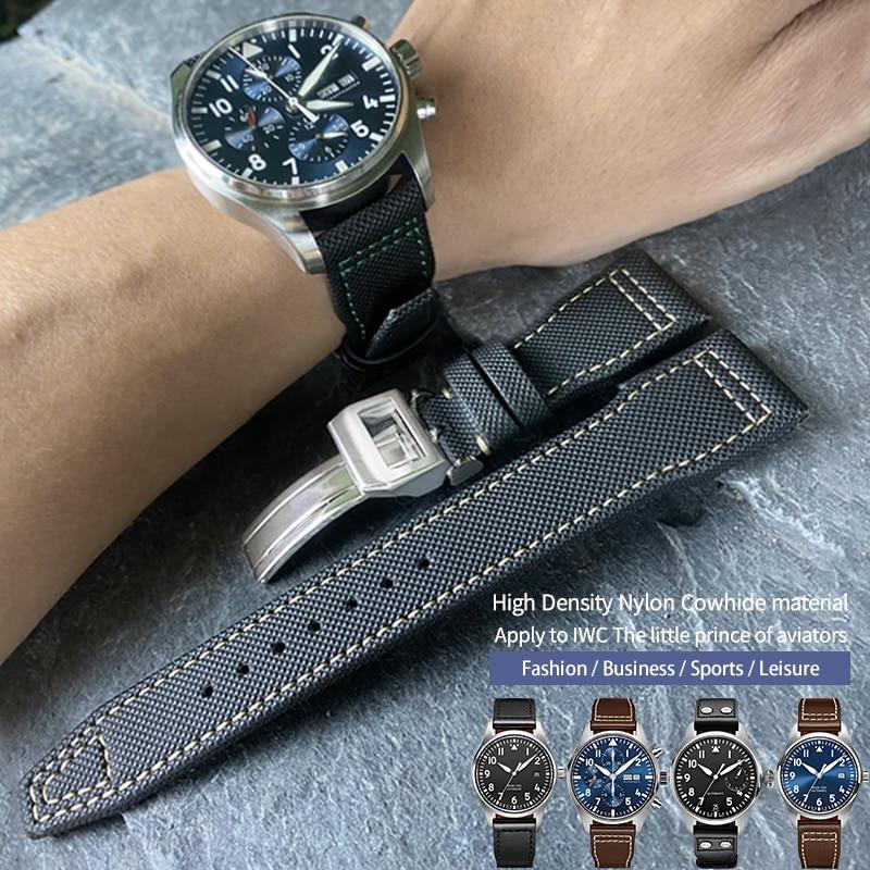 20/21/22mm High quality Calfskin Leather Nylon Watch strap Fit for IWC Pilot SPITFIRE MARK18 Portofi