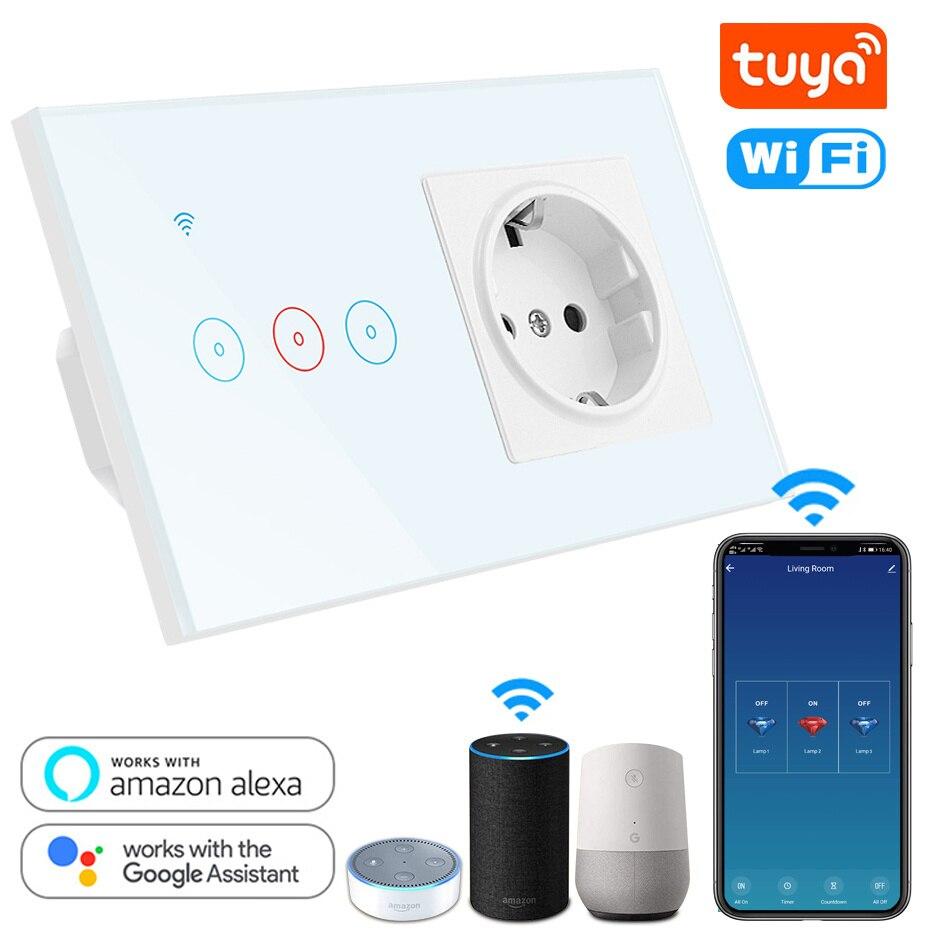 Tuya interruptor inteligente WiFi interruptor de pared táctil 10A con 146 EU tomacorriente enchufe eléctrico funciona con Alexa Google Control de voz en casa