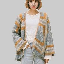 Suéteres de Cachemira a cuadros para mujer abrigo de otoño invierno suéteres de mujer suéteres sueltos suéter de punto para mujer